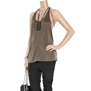 ACNE Belief Tan Leather Tie Jersey Tank Top Size M